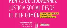 Valencia: Presentación del cuaderno <i>Rentas de ciudadanía. Justicia social desde el bien común</i>